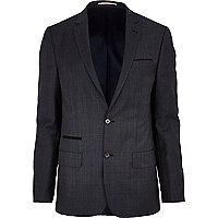 Navy check slim suit jacket