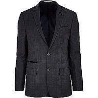 Navy check slim suit jacket