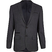 Dark grey dogtooth slim suit jacket