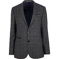 Dark grey check slim suit jacket