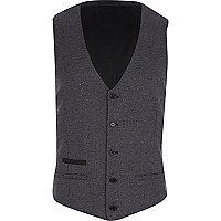 Dark grey dogtooth waistcoat