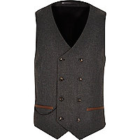 Brown smart double breasted waistcoat