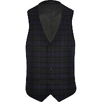 Blue tartan single breasted waistcoat