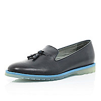 Navy Anthony Miles contrast sole loafers