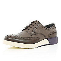 Brown Anthony Miles colour block brogues