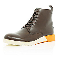 Brown Anthony Miles colour block boots