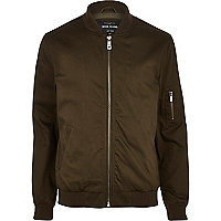 Khaki green twill bomber jacket