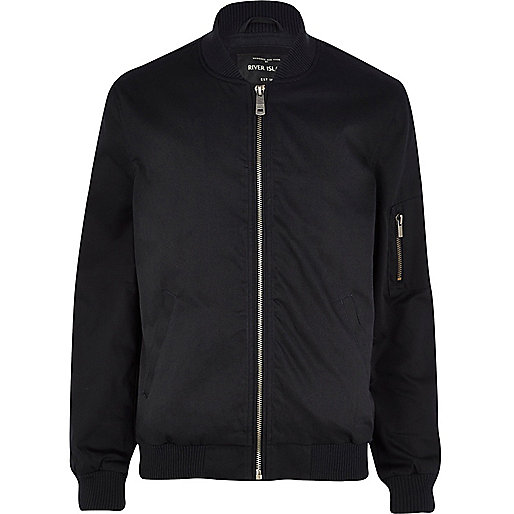 Navy blue twill bomber jacket