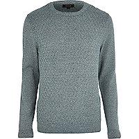 Green twist knit textured jumper