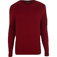 Dark red textured crew neck jumper