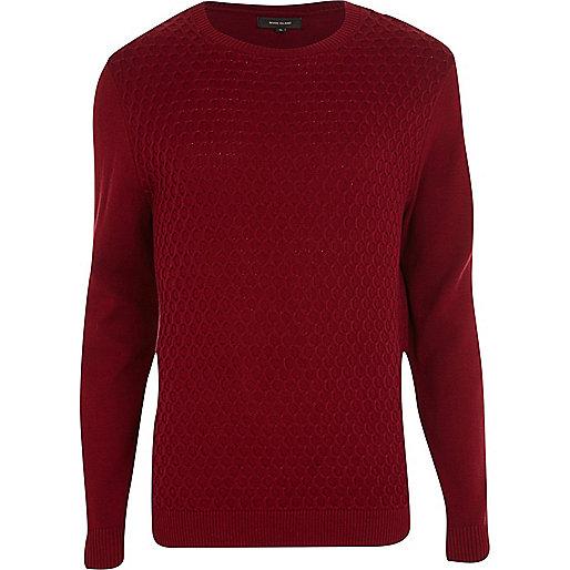 Dark red textured crew neck jumper