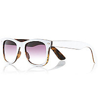 White two-tone retro sunglasses