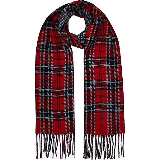 Red reversible tartan scarf