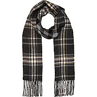 Black check reversible scarf