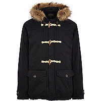 Navy faux fur hood duffle jacket