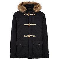 Navy faux fur hood duffle jacket