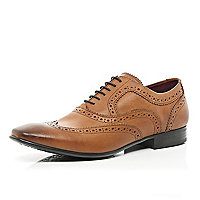 Tan formal lace up brogues