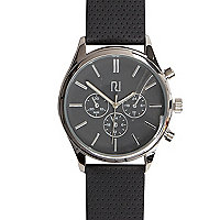 Dark grey perforated strap watch