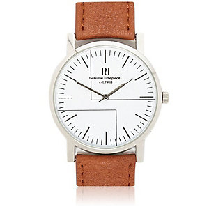 Tan round watch