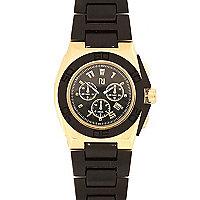 Black rose gold tone black strap watch