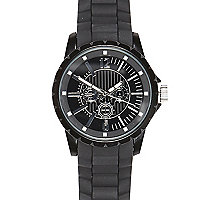 Black rubber bracelet watch