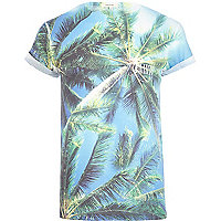 Blue Tahiti palm tree print t-shirt