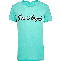 Teal burnout Los Angeles print t-shirt