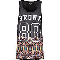Black Bronx tribal print mesh vest