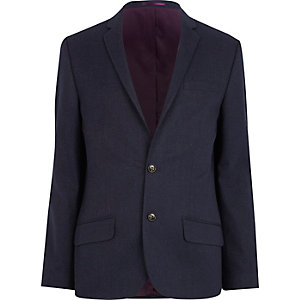 Navy blue slim suit jacket