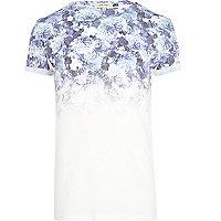 Blue floral ombre print t-shirt