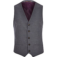 Grey single breasted waistcoat