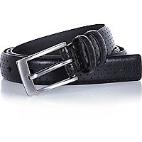 Black perforated thin belt