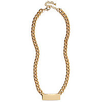 Gold tone ID chain necklace