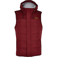 Dark red padded casual gilet