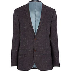 Dark purple crosshatch slim suit jacket