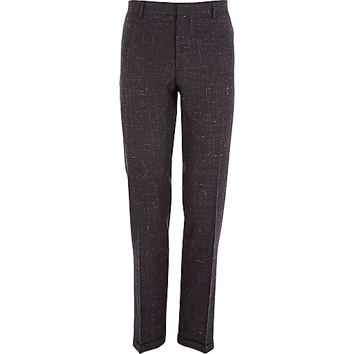 Dark purple crosshatch slim suit trousers