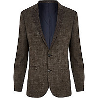 Brown crosshatch slim suit jacket