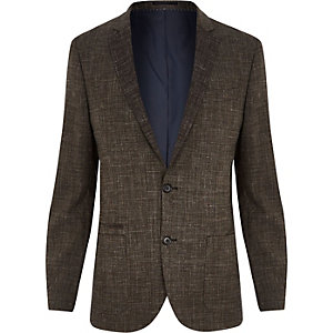 Brown crosshatch linen-blend slim suit jacket