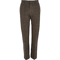 Brown crosshatch slim suit trousers