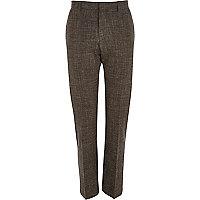 Brown crosshatch slim suit trousers