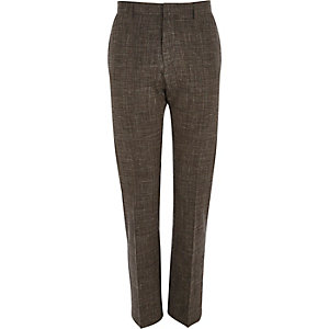 Brown crosshatch linen-blend slim trousers