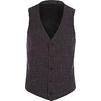 Dark purple crosshatch waistcoat