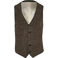 Brown textured cross-hatch waistcoat