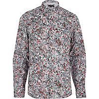 Grey floral palm leaf print shirt