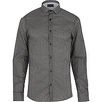 Black geometric print long sleeve shirt