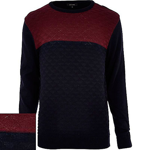 Navy textured colour block jumper