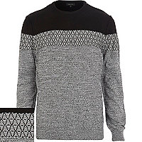 Black geometric colour block jumper