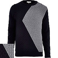 Navy textured asymmetric colour block jumper