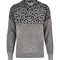 Grey leopard print ombre sweatshirt