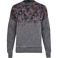 Grey floral ombre print sweatshirt